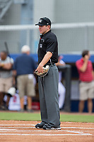 Home plate umpire Brandon Blome prior to the Appalachian League game between the Princeton Rays and the Danville Braves at American Legion Post 325 Field on June 25, 2017 in Danville, Virginia.  The Braves walked-off the Rays 7-6 in 11 innings.  (Brian Westerholt/Four Seam Images)