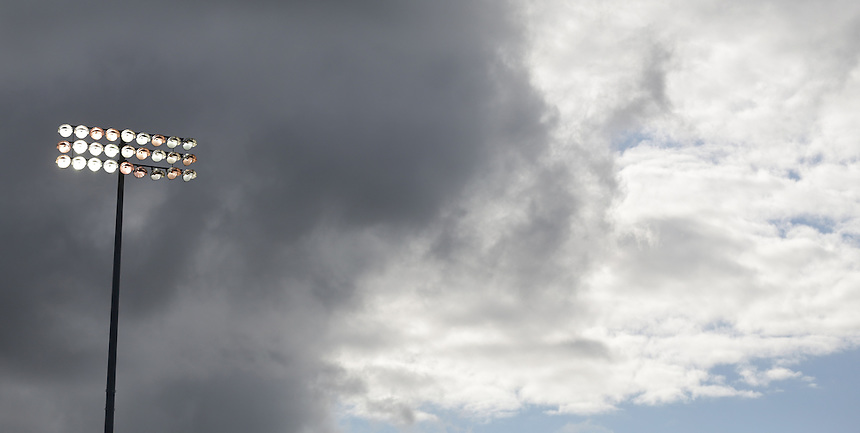 A general view of Turf Moor, home of Burnley showing the floodlights<br /> <br /> Photographer Stephen White/CameraSport<br /> <br /> Football - The Football League Sky Bet Championship - Burnley v Sheffield Wednesday - Saturday 12th September 2015 -  Turf Moor - Burnley<br /> <br /> &copy; CameraSport - 43 Linden Ave. Countesthorpe. Leicester. England. LE8 5PG - Tel: +44 (0) 116 277 4147 - admin@camerasport.com - www.camerasport.com