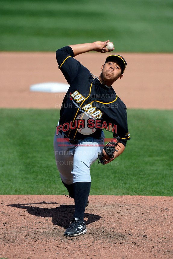 Bowling Green Hot Rods pitcher Reinaldo Lopez #36 during a game against the Dayton Dragons on April 21, 2013 at Fifth Third Field in Dayton, Ohio.  Bowling Green defeated Dayton 7-5.  (Mike Janes/Four Seam Images)