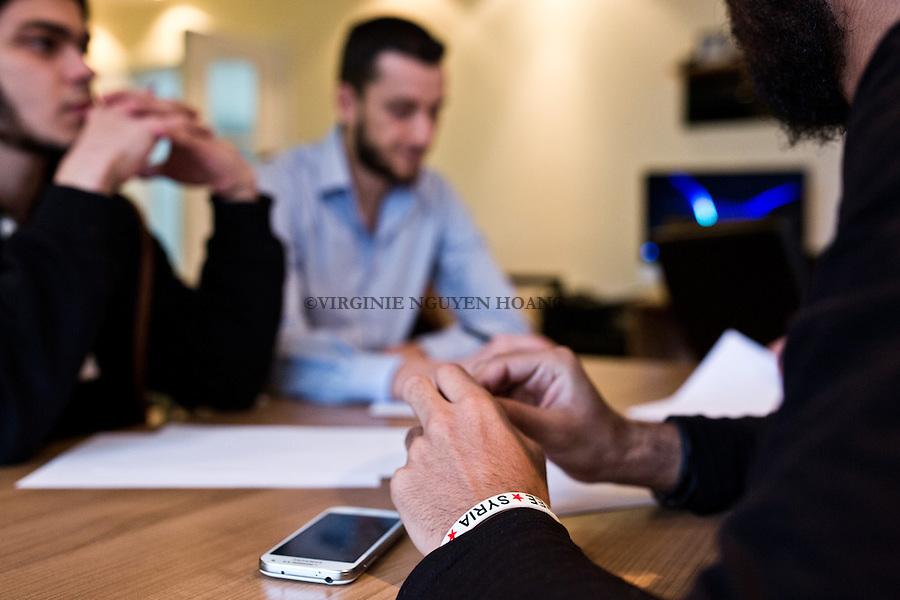 Gaziantep, Turkey: Dayaaltaseh team prepares the script for their next sketch on deash in their production office.<br /> <br /> Gaziantep, Turquie: l'equipe de Dayaaltaseh prepare le scenario de leur prochain sketche sur deash dans leur bureau de production.