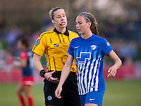 Boyds, MD - April 16, 2016: Margaret Domka  talks with Boston Breakers defender Julie King (8). The Washington Spirit defeated the Boston Breakers 1-0 during their National Women's Soccer League (NWSL) match at the Maryland SoccerPlex.