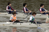 Chiswick, London. ENGLAND, 09.03.2006, J15 8+ [foreground] RGS Worcester move along side Oundle as the crew race along Corney reach,   during the Schools Head of the River Race Chiswick Bridge to Putney  on Thursday 9th March    © Peter Spurrier/Intersport-images.com.. Schools Head of the River Race. Rowing Course: River Thames, Championship course, Putney to Mortlake 4.25 Miles