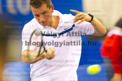 Richard Krajicek from Netherlands plays an exhibition match against Fabrice Santoro (not pictured) from France during the Tennis Classics tournament in Budapest, Hungary on October 29, 2011. ATTILA VOLGYI