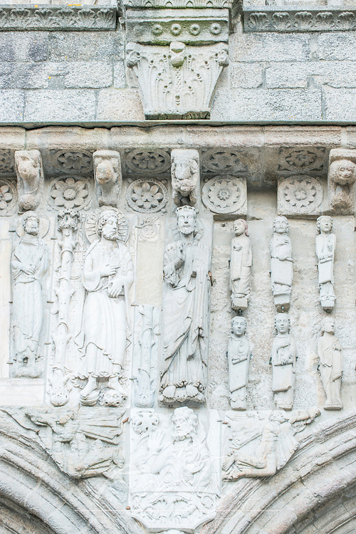 Spain, Satiago de Compostela, Bas Relief Sculpture Above Cathedral Door
