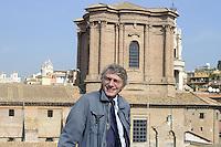 Roma 11 Ottobre 2012.via Sant'Andrea delle Fratte .David Sassoli candidato alle primarie per l'elezione del sindaco di Roma nel terrazzo sede del Partito Democratico con i tetti di Roma.
