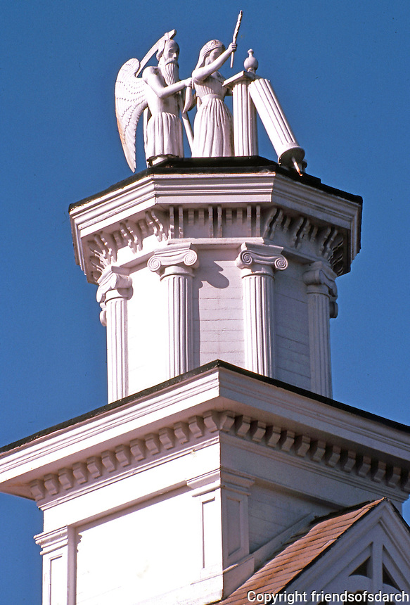 "Mendocino CA:  Masonic Hall-detail. ""Time and the Virgin"" --based on a symbol of Freemasonry.  Photo '83."