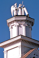 """Mendocino CA:  Masonic Hall-detail. """"Time and the Virgin"""" --based on a symbol of Freemasonry.  Photo '83."""