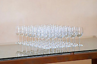 Empty glasses for tasting. Wine glasses. Torres Penedes Catalonia Spain