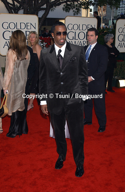 Sean 'P. Diddy' Combs arrives at The 59th Annual Golden Globe Awards held at the Beverly Hilton Hotel in Los Angeles, Ca., Sunday, January 20, 2002. CombsSeanPDiddy02.JPG
