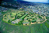 Aerial view of Punchbowl National Cemetary