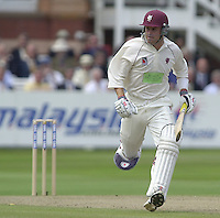 Photo Peter Spurrier.31/08/2002.Cheltenham & Gloucester Trophy Final - Lords.Somerset C.C vs YorkshireC.C..Somerset -  Jamie Cox (Marron Helmet)