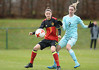 20171125 - TUBIZE , BELGIUM : Belgian Elke van Gorp (left) pictured in a duel with Russian Anastasia Akimova during the friendly female soccer game between the Belgian Red Flames and Russia , Saturday 25 th November 2017 at the Belgian FA Euro 2000 Center in Tubize , Belgium. PHOTO SPORTPIX.BE | DAVID CATRY