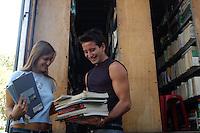 Bancarelle dei libri scolastici usati sul lungotevere Oberdan di Roma. Stalls of the used school books on the Lungotevere Oberdan in Rome....