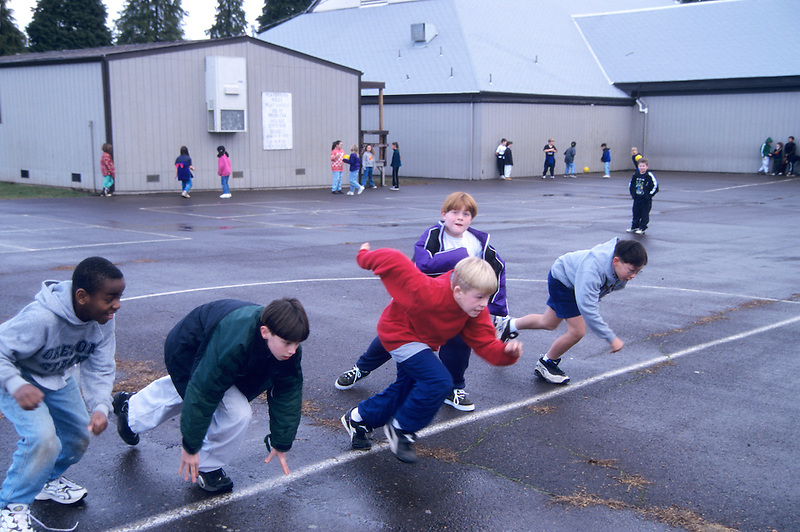 Students racing on playground. Oregon