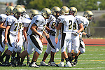 Torrance, CA 09/08/11 - Ian Escutia (Peninsula #2), Triston Martinez (Peninsula #70), Issac Kuo (Peninsula #28), Jeric Lagmay (Peninsula #65) and the rest of the Panthers in action during the North-Peninsula Junior Varsity Football game at North High School in Torrance.