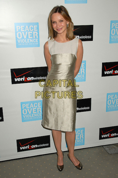 CALISTA FLOCKHART.36th Annual Peace Over Violence Humanitarian Awards Dinner at the Beverly Hills Hotel, Beverly Hills, California, USA..November 9th, 2007.full length beige gold dress sleeveless shoes .CAP/ADM/BP.©Byron Purvis/AdMedia/Capital Pictures.