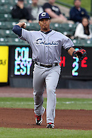 Columbus Clippers third baseman Jose Lopez #39 during the first game of a double header against the Empire State Yankees at Frontier Field on May 8, 2012 in Rochester, New York.  Columbus defeated Empire State 1-0.  (Mike Janes/Four Seam Images)