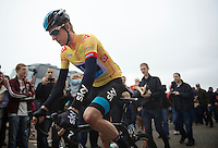 Bradley Wiggins (GBR) in the golden jersey<br /> <br /> 2013 Tour of Britain<br /> stage 7: Epsom to Guilford (155km)