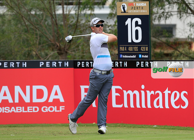 Daniel Nisbet (AUS) on the 16th tee during Round 2 of the ISPS HANDA Perth International at the Lake Karrinyup Country Club on Friday 24rd October 2014.<br /> Picture:  Thos Caffrey / www.golffile.ie