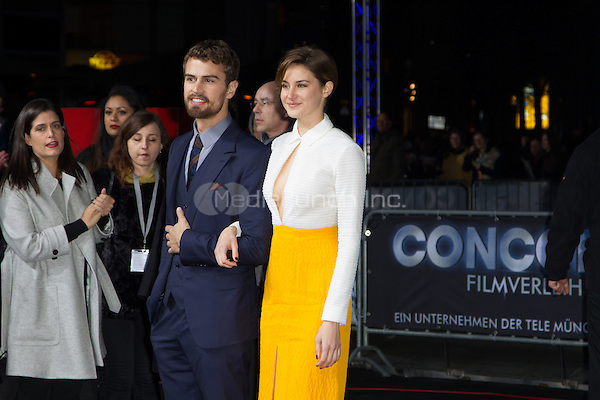 Theo James and Shailene Woodley attending the Insurgent premiere, held at CineStar, Sony Center, Berlin, Germany, 13.03.2015. <br /> Photo by Christopher Tamcke/insight media /MediaPunch ***FOR USA ONLY***