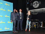 """Actor Daniel Breaker, actor Cheyenne Jackson and actress Ari Graynor attends press event to introduce the cast and creators of the new Broadway play """"The Performers""""at the Hard Rock Cafe on Tuesday, Sept. 25, 2012 in New York. (Photo by © Walter McBride/WM Photography//AP)"""