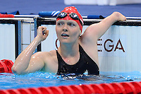PICTURE BY ALEX BROADWAY /SWPIX.COM - 2012 London Paralympic Games - Day Five - Swimming, Aquatic Centre, Olympic Park, London, England - 03/09/12 - Susannah Rodgers of Great Britain reacts after winning Bronze in the Women's 100m Freestyle S7 Final.