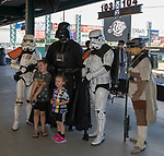 "Caylynn Lapier and Caddie Lapier pose with Star Wars characters during the Reno Aces ""Star Wars Night"" game at Greater Nevada Field in Reno on Saturday, June 17, 2017."