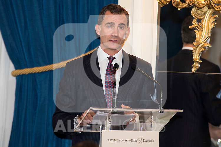 "King Felipe VI of Spain attend the delivery of the XXXII edition of the journalism award "" Francisco Cerecedo "" D. Felix Arzua at Ritz Hotel in Madrid, November 25, 2015<br /> (ALTERPHOTOS/BorjaB.Hojas)"