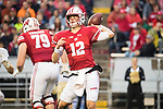 Wisconsin Badgers quarterback Alex Hornibrook (12) looks throws a pass during an NCAA College Big Ten Conference football game against the Purdue Boilermakers Saturday, October 14, 2017, in Madison, Wis. The Badgers won 17-9. (Photo by David Stluka)