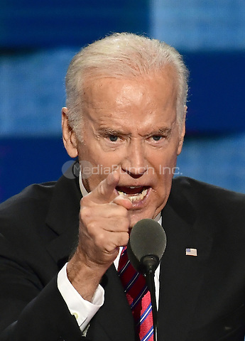 United States Vice President Joe Biden makes remarks during the third session of the 2016 Democratic National Convention at the Wells Fargo Center in Philadelphia, Pennsylvania on Wednesday, July 27, 2016.<br /> Credit: Ron Sachs / CNP/MediaPunch<br /> (RESTRICTION: NO New York or New Jersey Newspapers or newspapers within a 75 mile radius of New York City)