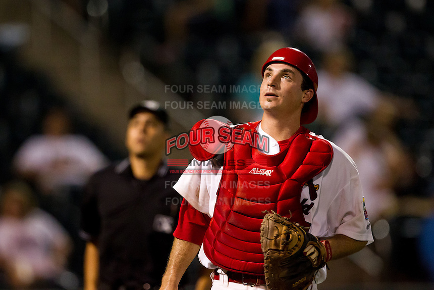 Charles Cutler (37) of the Springfield Cardinals eyes a foul ball during a game against the Tulsa Drillers at Hammons Field on July 18, 2011 in Springfield, Missouri. Tulsa defeated Springfield 13-8. (David Welker / Four Seam Images)