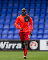 Sadio Mane of Liverpool warms up during the 2016/17 Pre Season Friendly match between Tranmere Rovers and Liverpool at Prenton Park, Birkenhead, England on 8 July 2016. Photo by PRiME Media Images.