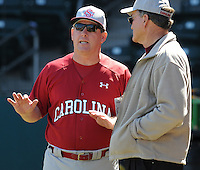 USC head coach Ray Tanner (1) talks with former head coach June Raines before a game between the Clemson Tigers and South Carolina Gamecocks Saturday, March 6, 2010, at Fluor Field at the West End in Greenville, S.C. Photo by: Tom Priddy/Four Seam Images