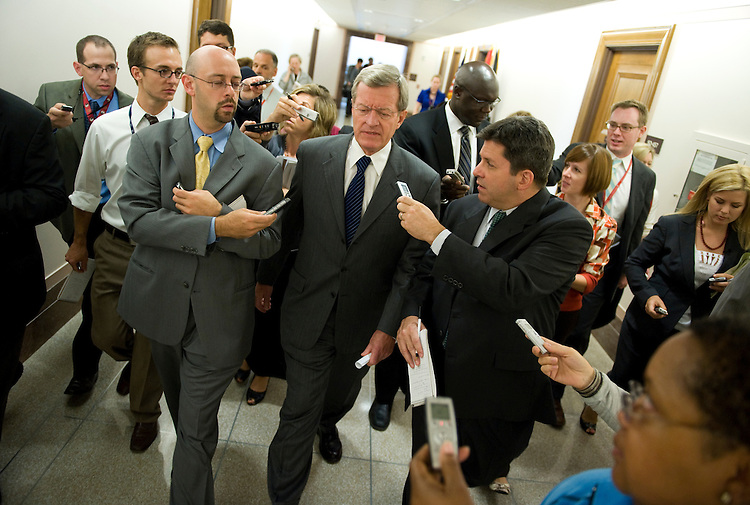 Sen. Max Baucus, D-Mont., speaks to the media after leaving a meeting in his office with the Gang of Six, a bipartisan group of Senators tasked with reaching a deal on a health care bill, September 14, 2009.