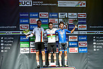 Remco Evenepoel (BEL) wins the Men Junior Road Race of the 2018 UCI Road World Championships running 132.4km from Wattens to Innsbruck, Innsbruck-Tirol, Austria 2018. 27th September 2018.<br /> Picture: Innsbruck-Tirol 2018/BettiniPhoto | Cyclefile<br /> <br /> <br /> All photos usage must carry mandatory copyright credit (© Cyclefile | Innsbruck-Tirol 2018/BettiniPhoto)