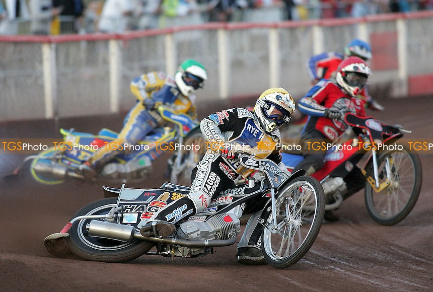 Heat 3 - Kennett (yellow), Shields (red), Boxall, Kling - Lakeside Hammers vs Rye House Rockets - Inter-League Challenge at Arena Essex, Purfleet 10/08/07 - MANDATORY CREDIT: Gavin Ellis/TGSPHOTO - SELF-BILLING APPLIES WHERE APPROPRIATE. NO UNPAID USE. TEL: 0845 094 6026..