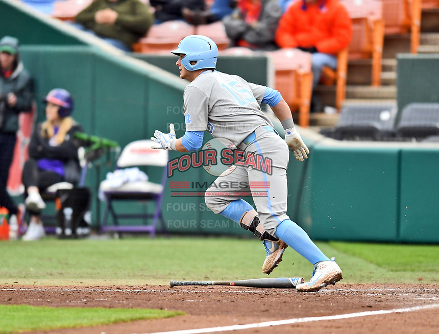 North Carolina Tar Heels first baseman Michael Busch (15) runs to first base during a game against the Clemson Tigers at Doug Kingsmore Stadium on March 9, 2019 in Clemson, South Carolina. The Tigers defeated the Tar Heels 3-2 in game one of a double header. (Tony Farlow/Four Seam Images)