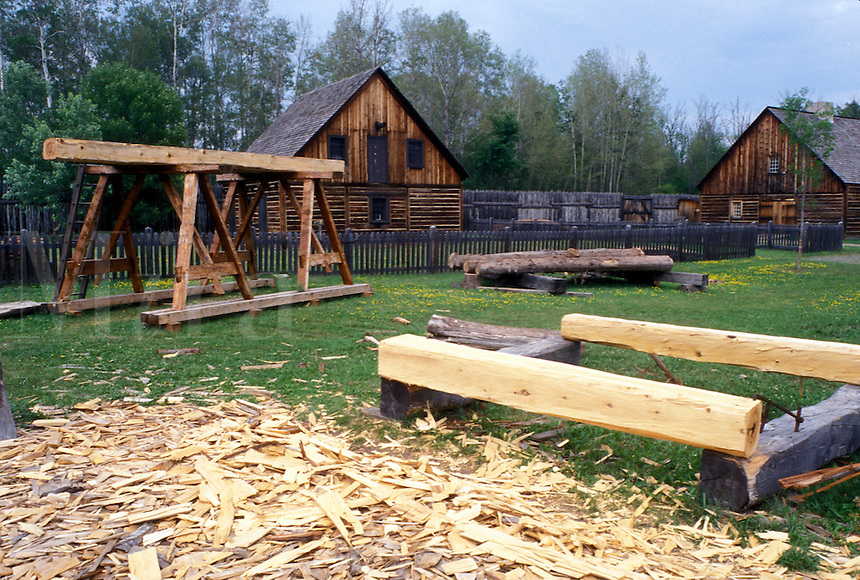 fort, Thunder Bay, Canada, Ontario, Saw Yard at Old Fort William, Fur Trading Post, in Thunder Bay.