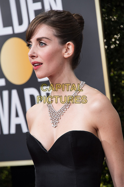 Nominated for BEST PERFORMANCE BY AN ACTRESS IN A TELEVISION SERIES &ndash; COMEDY OR MUSICAL for her role in &quot;GLOW,&quot; actress Alison Brie attends the 75th Annual Golden Globes Awards at the Beverly Hilton in Beverly Hills, CA on Sunday, January 7, 2018.<br /> *Editorial Use Only*<br /> CAP/PLF/HFPA<br /> &copy;HFPA/PLF/Capital Pictures