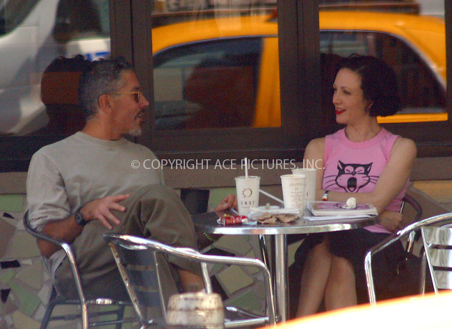***EXCLUSIVE*** **NO SALES TO NY POST**..Broadway Star Bebe Neuwirth having a brunch with unidentified companion at a West Village restaurant this Sunday. Look at that screept laying on the table in front of Bebe. New York, September 8, 2002. Please byline: Alecsey Boldeskul/NY Photo Press.   ..*PAY-PER-USE*      ....NY Photo Press:  ..phone (646) 267-6913;   ..e-mail: info@nyphotopress.com