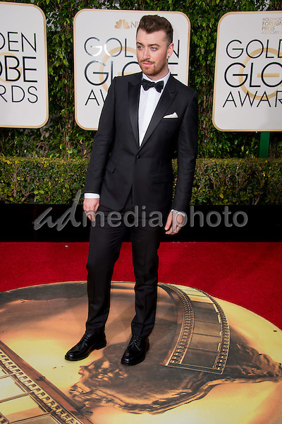"Sam Smith, nominated for BEST ORIGINAL SONG – MOTION PICTURE goes to ""Writing's on the Wall"" for ""Spectre,"" attends the 73rd Annual Golden Globe Awards at the Beverly Hilton in Beverly Hills, CA on Sunday, January 10, 2016. Photo Credit: HFPA/AdMedia"