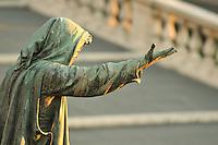 "Rome, Italy: Bronze statue 'La Clemenza' (""The Mercy"") along the steps leading to Piazza del Campidoglio"