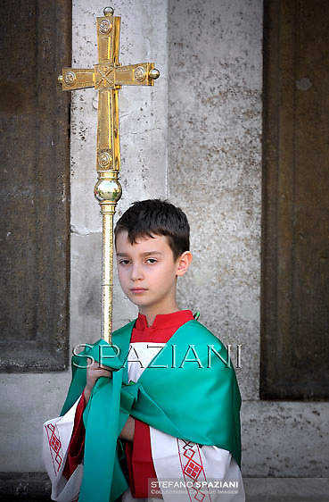 Altar boy; Pope Benedict XVI celebrates mass in St.Peter square in Frascati on the outskirts of Rome on July 15, 2012.