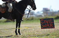 NWA Democrat-Gazette/ANDY SHUPE<br /> A sign directs visitors Saturday, Sept. 26, 2015, during a re-enactment of the Civil War Battle of Pea Ridge in Pea Ridge. Visit nwadg.com/photos to see more photos from the weekend.