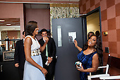 "First Lady Michelle Obama greets Sherri Shepherd of ""The View"" at the show's studio in New York, New York, May 29, 2012. .Mandatory Credit: Sonya N. Hebert - White House via CNP"