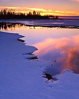 Sunset light on Lake Michigan at Peninsula State Park; Door County, WI