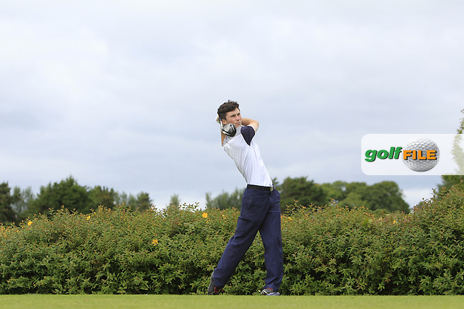 Mark Healy (Kinsale) on the 18th tee during R1 of the 2016 Connacht U18 Boys Open, played at Galway Golf Club, Galway, Galway, Ireland. 05/07/2016. <br /> Picture: Thos Caffrey | Golffile<br /> <br /> All photos usage must carry mandatory copyright credit   (&copy; Golffile | Thos Caffrey)