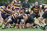 Joe Royal drives Coree Te Whata-Colley to ground. Premier Counties Power Club Rugby Round 3, Counties Power Game of the Week, between Patumahoe and Bombay, played at Patumahoe on Saturday March 24th 2018. <br /> Photo by Richard Spranger.<br /> <br /> Patumahoe Counties Power Cup Holders won the game 26 - 23 after trailing 7 - 23 at halftime.<br /> Patumahoe 26 - Penalty try, Richard Taupaki, Theodore Solipo, Craig Jones tries; Riley Hohepa 2 conversions. <br /> Bombay 23 - Shaun Muir, Jordan Goldsmith, Liam Daniela, tries; Tim Cossens conversion; Tim Cossens 2 penalties.