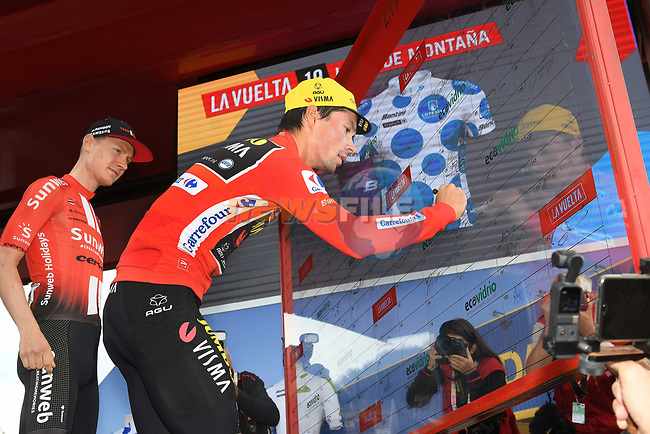 Race leader Primoz Roglic (SLO) Team Jumbo-Visma at sign on before Stage 15 of La Vuelta 2019  running 154.4km from Tineo to Santuario del Acebo, Spain. 8th September 2019.<br /> Picture: Karlis | Cyclefile<br /> <br /> All photos usage must carry mandatory copyright credit (© Cyclefile | Karlis/Photogomezsport)