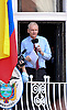 """JULIAN ASSANGE.The WikiLeaks founder Julian Assange thanks the nation of Ecuador for taking a """"stand for justice"""" in giving him political asylum at their Embassy in London..Assange,41, appeared on the balcony of the Embassy of Ecuador where he took sanctuary in the in June, jumping bail after exhausting appeals in British courts against extradition to Sweden, where he is wanted in Sweden for questioning regarding allegations of rape and sexual assault against two women.He says he fears Sweden will eventually hand him over to the United States where, in his view, he would face persecution and long-term imprisonment. The United States says it is not involved in the matter_19/08/2012.Mandatory Credit Photo: ©Butler/NEWSPIX INTERNATIONAL..**ALL FEES PAYABLE TO: """"NEWSPIX INTERNATIONAL""""**..IMMEDIATE CONFIRMATION OF USAGE REQUIRED:.Newspix International, 31 Chinnery Hill, Bishop's Stortford, ENGLAND CM23 3PS.Tel:+441279 324672  ; Fax: +441279656877.Mobile:  07775681153.e-mail: info@newspixinternational.co.uk"""